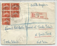 SEMEUSE 10C N° 138 BLOC DE 5 LETTRE REC PARIS 118 9.4.1912 POUR TURKS ISLANDS WEST INDIES DESTINATION RR - 1906-38 Sower - Cameo