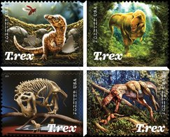 United States 2019 NEW T-Rex Stamps Block Of 4v Mint NH / ** Tyrannosaurus Rex Fossils Carnivorous Dinosaurs Reptiles - Préhistoriques