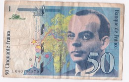 50 Francs St Exupéry 1997 Série L040185870 - 1992-2000 Ultima Gama