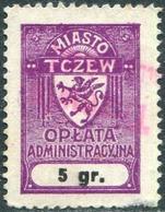 Poland 1932 TCZEW Revenue 5 Gr. GRYPHON Griffin Revenue Local Municipal Tax Fiscal Gebührenmarke Polen Pologne DIRSCHAU - Revenue Stamps