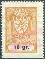 Poland 1932 TCZEW Revenue 10 Gr. GRYPHON Griffin Revenue Local Municipal Tax Fiscal Gebührenmarke Polen Pologne DIRSCHAU - Revenue Stamps