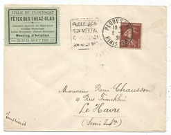 N° 189 LETTRE DAGUIN PLOUESCAT SON MEETING D'AVIATION 24 AOUT 1931 FINISTERE + VIGNETTE RARE MAIS FRAPPE FAIBLE - Poststempel (Briefe)