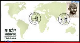 Ref. BR-V2018-072D BRAZIL 2018 FAMOUS PEOPLE, 150 YEARS OF MAHATMA, GANDHI BIRTH, FDC MNH 1V - Mahatma Gandhi