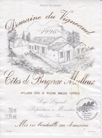 ANCIENNE ETIQUETTE VIN FRANCAIS  - CÔTES DE BERGERAC MOELLEUX  - DOMAINE DU VIGNEAUD 1996 - Bergerac