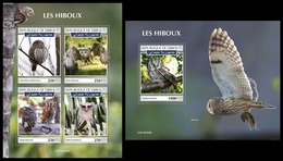 DJIBOUTI 2019 - Owls, M/S + S/S. Official Issue [DJB190406] - Pájaros
