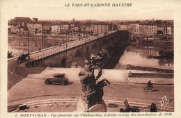 MONTAUBAN  Vue Generale Sur Villebourbon ,à Droite Vestige Des Inondations De 1930 Voiture Cycliste Attelage RV - Montauban