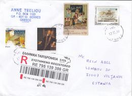 "GOOD GREECE "" REGISTERED "" Postal Cover To ESTONIA 2018 - Good Stamped: Children ; Stamp On Stamp / Cept - Greece"