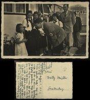 P0333 - DR Propaganda Photo Hoffmann Postkarte Obersalzberg,Adolf Hitler Mit BDM Mädel: Gebraucht Mit Text 1937 - Allemagne