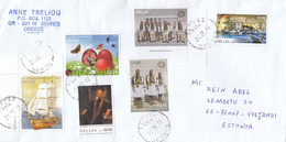 GOOD GREECE Postal Cover To ESTONIA 2019 - Good Stamped: National Costumes / Army ; Ship ; Butterflies / Birds - Greece