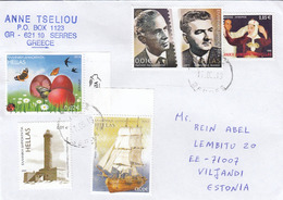 GOOD GREECE Postal Cover To ESTONIA 2019 - Good Stamped: National Costumes ; Persons ; Ship ; Lighthouse - Greece