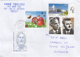 GOOD GREECE Postal Cover To ESTONIA 2019 - Good Stamped: Butterflies ; Persons - Greece