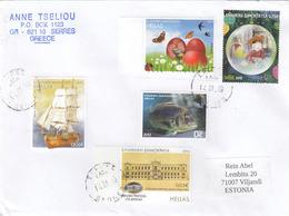 GOOD GREECE Postal Cover To ESTONIA 2019 - Good Stamped: Butterflies ; Fish ; Ship ; Children - Greece