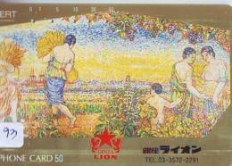 Télécarte Japon *  BEER * BIERE SAPPORO * PEINTURE FRANCE * ART (2393) Japan * Phonecard * KUNST TK - Alimentation