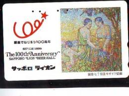Télécarte Japon *  BEER * BIERE SAPPORO * PEINTURE FRANCE * ART (2394) Japan * Phonecard * KUNST TK - Alimentation