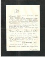 Faire-Part Madame Marie-Célestine FAURE Di Dèle Décédée à FURNES Le 15/3/1900 - Esquela