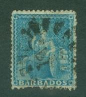 Barbados: 1861   Britannia    SG18    (1d)   Pale Blue   [clean Cut Perf]      Used - Barbados (...-1966)