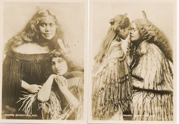 Set Of 4 Real Photo Size 6,5/9 Cms Maori Beauties Kissing Chieftainess - Nouvelle-Zélande