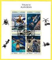 Bloc Feuillet Oblitéré De 4 Timbres-poste - Tribute To Alan Bean - N° 10026-10029KB (Michel) - Sierra Leone 2018 - Sierra Leone (1961-...)