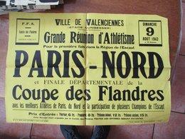 VILLE DE VALENCIENNES DIMANCHE 9 AOUT 1942 GRANDE REUNION D'ATHLETISME PARIS-NORD 42cm/60cm - Plakate