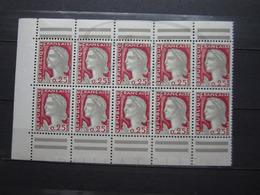 VEND BEAUX TIMBRES DE FRANCE N° 1263 EN BLOC DE 10 DE CARNET , XX !!! - 1960 Marianne De Decaris