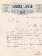 """Fattura Comm.  -  Tipografia  """" Edinost """", Trieste  -  Formato  Cm. 22,4  X 28,3 - Italia"""