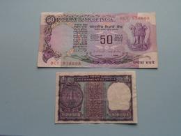 1 Rupee ( 65V 8J0584 ) & 50 Rupees ( OCV938898 ) Reserve Bank Of INDIA ( For Grade, Please See Photo ) ! - Inde