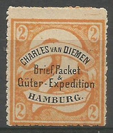 "Hamburg Local - 1864 Charles Van Diemen  ""2""  Orange Unused No Gum - Private"