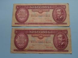 100 SZAZ Forint ( B972 051405 - B742 016290 ) 1984 - Magyar Nermzeti Bank ( For Grade, Please See Photo ) 2 Pcs.! - Hongrie
