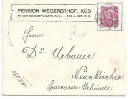 1520u: Heimatbeleg Küb 1912 Pension Wegererhof, Befördert Nach Neunkirchen - Semmering
