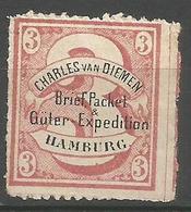 "Hamburg Local - 1864 Charles Van Diemen  ""3""  No Gum - Private"