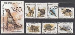 Yemen Republic - Animals Prehistorics, Mi-Nr. 23/29 + Bl. 40, MNH** - Stamps