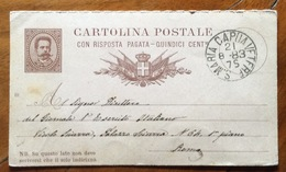 CARTOLINA POSTALE 15+15 C. (mill.81 ) Da S.MARIA CAPUA VETERE 21/8/83 PER ROMA - 1878-00 Umberto I