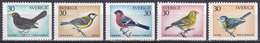 Schweden Sweden Sverige 1970 Tiere Fauna Animals Vögel Birds Oiseaux Aves Uccelli Amsel Meisen, Mi. 692-6 ** - Unused Stamps
