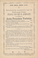 Zuster Anna Francisca VERBELEN  (Buggenhout 1825 - Vilvoorde 1899) - Esquela