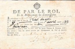 Très Rare-Convocation Pour Tirage Au Sort De 1785 - Historical Documents