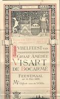 "Menu ""Jubelfeest Van Volskvertegenwoordiriger VISART De Bocarmé 1896 Brugge Superbement Illustré Bateau 17,5 X 36,5 Cm - Menus"