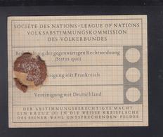 Societe Des Nations Volksabstimmungskommission Saar Abstimmungszettel - Historische Dokumente