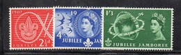 APR2526 - GRAN BRETAGNA 1957, EII : Unificato N. 302/304   ***  MNH  (2380A). Scout - Nuovi