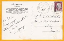 1962 - E A - Etat Algérien - CP Air France CARAVELLE  D' Alger à Clichy, France - Avec Affrt 25 C Marianne Decaris Surch - Algerien (1962-...)