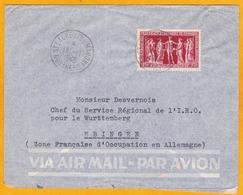 1949 - Guyane Française - Enveloppe Par Avion De St Laurent Du Maroni Vers Ebingen, Zone Française Occupation Allemagne - Guyane Française (1886-1949)