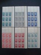 FRANCE 1943 CELEBRITIES X 12 SETS COT.168 EUR MNH** O/w BLOCS OF 9 Nr 587-592 - Frankrijk
