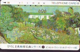 Télécarte Japon *  290-1502 * VAN GOGH * Jardin D'Aubigny * PEINTURE FRANCE * ART (2417)  Japan * Phonecard * KUNST TK - Peinture