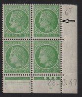 Ceres De Mazelin - N°680 - Visage Balafre Et Cocard A L Oeil Dans Bloc De 4 Coin Date  - ** Neuf Sans Charniere - 1945-47 Cérès De Mazelin