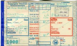 Compagnie Générale Transatlantique Billet - Carte Nice Ajaccio 7/7/1960 - French Line Paquebot Gouverneur Général CHANZY - Billetes De Transporte