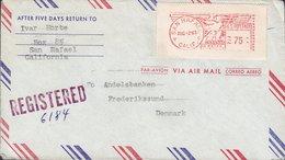 United States Registered SAN RAFAEL Calif. 1963 Meter Stamp Cover FREDERIKSSUND Denmark - Machine Stamps (ATM)