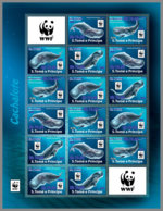 SAO TOME 2019 MNH WWF Overprint Whales Birds Wale Vögel Baleines Oiseaux BLUE FOIL 16v - OFFICIAL ISSUE - DH1934 - W.W.F.
