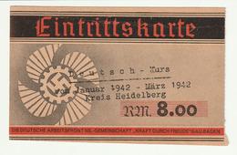 Heidelberg, Eintrittskarte Kraft Durch Freude, Deutsch-Kurs  1942 - 1939-45
