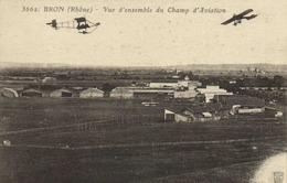 BRON (Rhone) Vue D'ensemble Du Champ D' Aviation RV - Aerodromi
