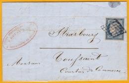 1850 - YT N° 4 - 25 C Bleu Cérès Sur Lettre Avec Correspondance De Paris Vers Strasbourg - Ligne De Quiévrain - 1849-1850 Cérès