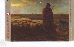 Télécarte Japon * J.F. MILLET * Berger Chien Mouton  * PEINTURE FRANCE * ART (2448)  Japan * Phonecard * KUNST TK - Peinture